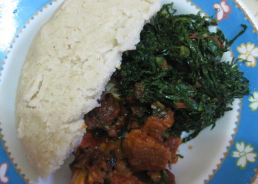 Sukuma wiki ugali and meat stew